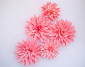Set of 5 Pink Paper Flowers, Stem Dahlias, Pink Paper Dahlias, Pink Wedding Decor, Pink First Birthday, Centerpiece, Candy Buffets Bar Decor