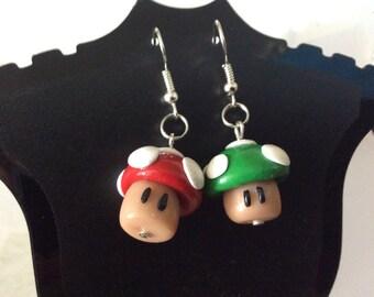 Super Mario earrings  1 up mushroom earring inspired Mario mushroom smash bross  jewerly geeky earrings Nintendo