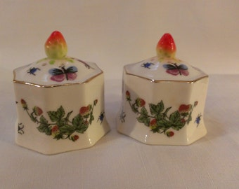 Hand Painted Octagon Salt and Pepper Shakers (738)