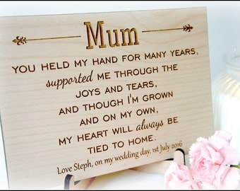 Personalised Mum Wedding Sign, Mum Wedding Gift, Mother Of The Bride Wooden Sign, Personalised Mum Wedding Gift