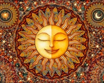 """Tapestry Wall Hanging Sun Moon Celestial 28""""X42"""" by Artist Dan Morris titled """"Bhakti: Love and Devotion"""""""