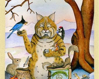 Peace Please (Bobcat) Greeting Card