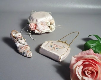 ON SALE- Putting On The Ritz Lot Of 3 Miniatures Victorian Style Embroidered Silk Shoe Purse & Hat Box