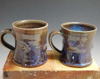 251 - Pair of Mugs, Wheel Thrown, Altered, Stoneware, Handmade