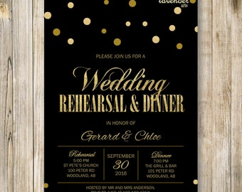 Gold Glitters WEDDING REHEARSAL DINNER Invitation, Black Gold Rehearsal Dinner Invite, Digital Elegant Engagement Party, Diy Printable