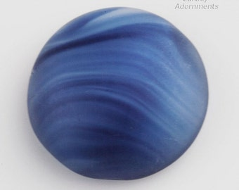 Vintage West German semi-opaque matte glass cabochon in wavy stripes of blues. 18mm. Sold individually. B5-871(e)
