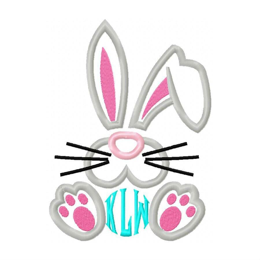 Bunny face embroidery applique design dst exp hus jef pes