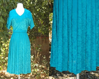 1980s Turquoise Green Diane Von Furstenberg Dress // 80s DVF Shirt Dress with Pleated Skirt