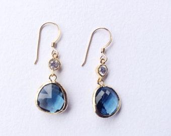 BLUE GLASS EARRINGS - Montana Blue Earrings - Free Form Glass Earrings - Blue Dangle Earrings - Gold Earrings