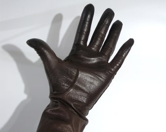 Vintage 70's Quality House kid leather brown gloves, XS
