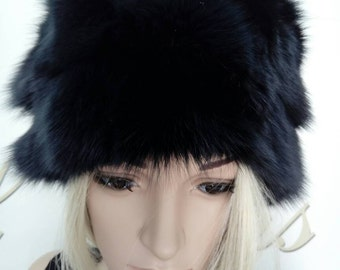 Sale -10%! New!Natural,Real beautiful Dark BLUE Fox Fur HAT!!!