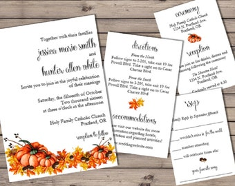 Fall Wedding Invitation Suite - Printable File