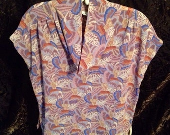 Vintage-Campus Casual-Printed Blouse- Size Small