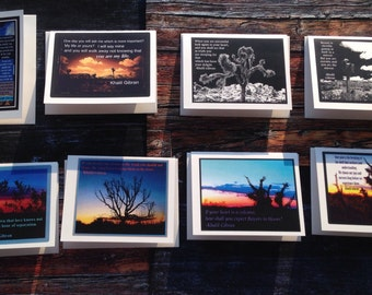 "Set of 8 ""CARD ART"" Greeting Cards w/Joshua Tree Imagery and Khalil Gibran Quotes"