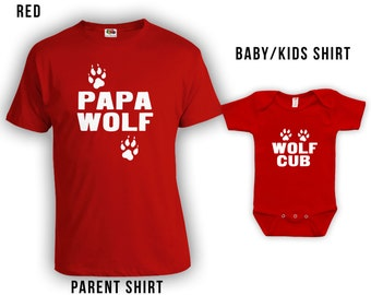 Papa Wolf, Wolf Cub - Matching Fathers Day Set, Baby Shirt, Gifts for Him Gifts for Dad from Son, Fathers Day Shirt, Bodysuit CT-330-331