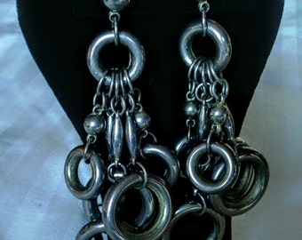 Gorgeous Silvertone BoHo style Pierced Earrings!!!