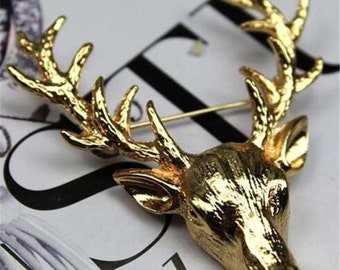 Deer Antlers Head Pin Brooches