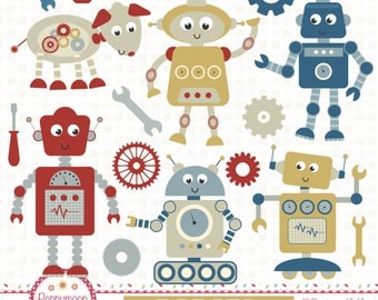 Robot friends, robot doggy, nuts and spanners, digital clipart set