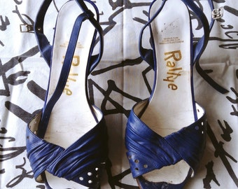 1980s French Electric blue New Wave Sandals