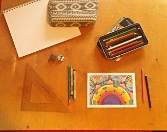Original, hand-drawn in colored pencil- Sunrise