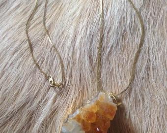 Gold Natural Yellow Quartz Drusy Cluster Stone Pendant Necklace