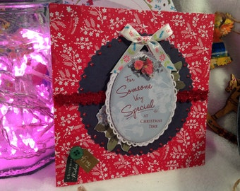 Red decorative Christmas card - Blank for your own message