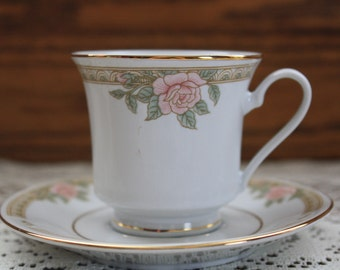 Miniature Lynns China Teacup and Saucer - Floral Design