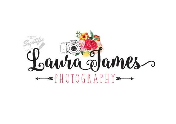 Flowers Photography Logo, Floral Logo with Camera, Photographer Watermark Logo Design, Arrow Logo, Business Logo, Logo for Photographs