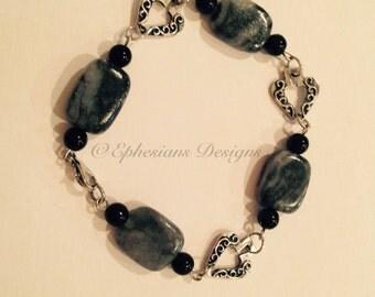 Black and Grey Marble stone Bracelet