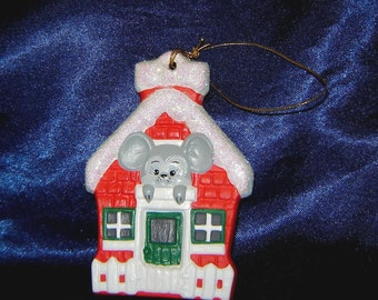 Mouse in House Ceramic Ornament - Mouse Ornaments - Mice Ornaments - Christmas Ornaments