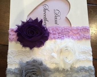 Shabby chic baby lace headband set of 3, newborn/infant headbands, baby shower gift, newborn photo prop