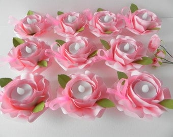 10 bougeoirs en rose origami, bougeoirs, mariage, bougeoirs mariage, bouquet de mariée, bougeoirs de table