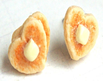 heart pancake earrings-miniature food jewelry, food earrings