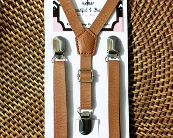 Leather Suspenders, Light Leather Suspenders, Leather Suspenders, Kids Suspenders, Baby Suspenders, Toddler Suspenders, Wedding