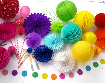 Large 'Party in a Box' Decorations - Multicoloured