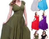 17% OFF SUMMER SALE S903 Dress Maxi Long Ruffled Smocked Tiers Boho Crinkle Rayon Made To Order s m l xl 1x 2x 3x 4x 5x 6x Lotustraders Choo