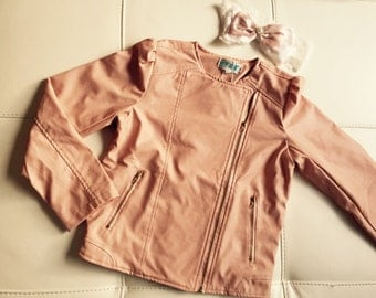 Pink faux leather jacket by delicate and special