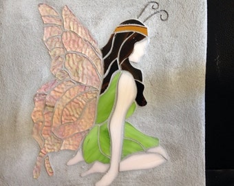 Butterfly fairy stained glass mosaic garden stepping stone