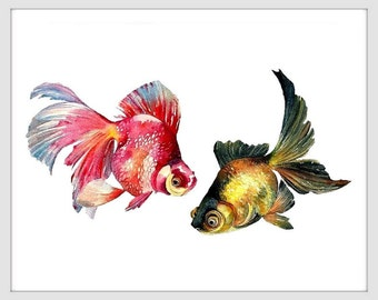 Goldfish Art, Watercolor Goldfish Painting,Fish Art Print  -Goldfish  Print, Fish Print, Fish