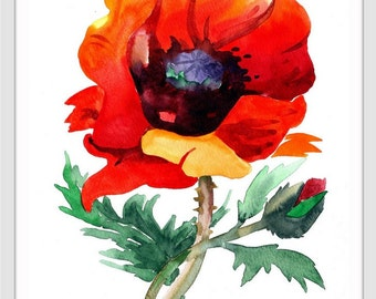 Poppy art print, poppy painting, art, poppy art, poppy watercolor art, red poppies, floral wall art, flowers art print, flower print 017