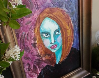 Painting, Green Witch, Goddess Painting, for Altar or Shrine Space, Original Painting Framed, Greenwitch, Wicca, Pagan Art