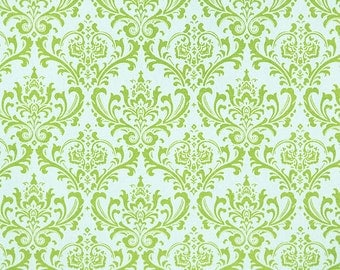 SALE Madison Chartreuse Lime on White Damask Home Decor Fabric by Premier Prints