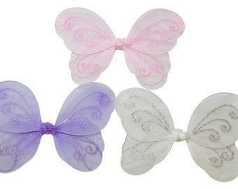 12 x Fairy Butterfly Wings for Girls Kids Fancy Dress Up Costume (SMALL)