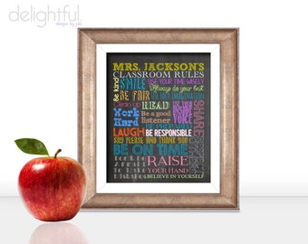 PERSONALIZED Classroom Rules Poster / Teacher Gift, Classroom Decor, Chalkboard Typography - Digital File