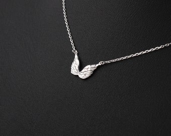 925 Sterling Silver Wing Necklace, silver the wings of an angel pendant, tiny wing necklace