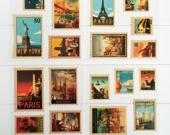 travel/cities stamp stickers