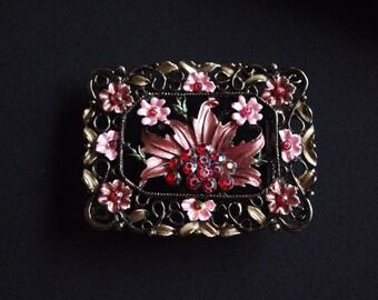 Enamel Belt Buckle, Pink Belt Buckle, Vintage Belt Buckle,Flower Buckle