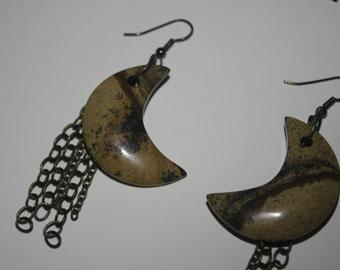 Handmade Crescent Moon Stone Earrings