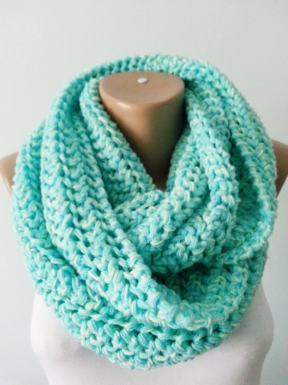 Items similar to Scarf , Knit Scarf Infinity Scarf , Circle Scarf , Mint Neck...