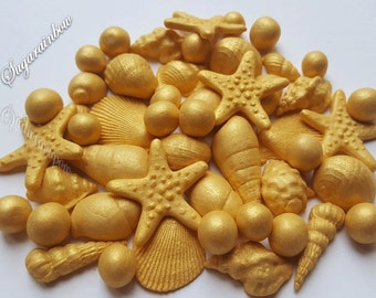 Edible sugar shells decorations for cake cupcake toppers